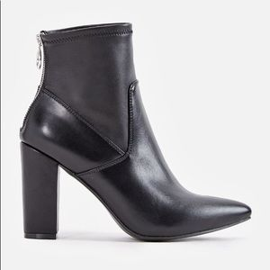 JustFab Shoes - Faux Leather Bootie with Exposed Zipper